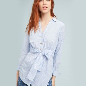 Anthropologie Maeve Clip Dot Tie Waist Shirt